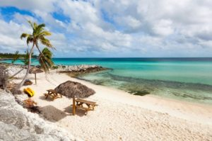 clear, see-through, aqua waters with sandy beaches, a tiki hut, canoes and palm trees
